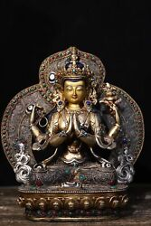Old Tibet Jokhang Temple Copper Body Carving Inlaid With Gems Four Arms Guanyin