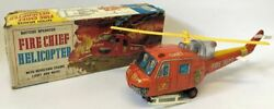 Vintage 1950s Tin Battery Op. Nomura Tn Japan Fire Dept Chief Helicopter Toy