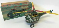 Vintage 1950s Tin Windup Marusan Japan U.s. Army Helicopter Toy 3285