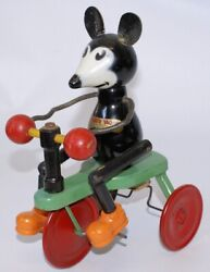 Vintage 1932 Chein Wood And Tin Ignatz Mouse Tricycle Pull Toy