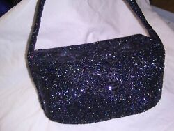 1940#x27;s French beaded Paris Charlet Evening Bag Navy Blue Box Purse $135.00