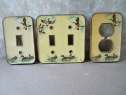 3 Vintage Switch And Outlet Covers,brass, Plates,wildlife Duck Designs, C.1950