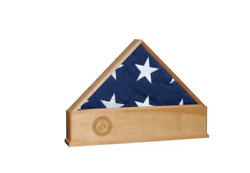 Solid Oak Us Flag Display Case With Marine Corps Emblem Burial Shadow Box