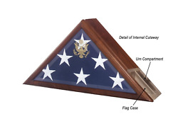 Us Flag Display Case With Urn Burial Shadow Box With Great Seal Of The Us