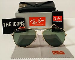 Ray Ban RB3025 Aviator Green Lens And Gold Frame 58mm Sunglasses $69.87
