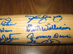 Dodgers Signed Bat Gary Carter Cey, Garvey, Tommy John, Don Newcombe, Either Psa