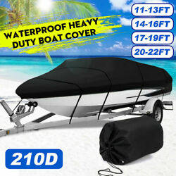 17and039 18and039 19and039 22and039 V-hull Fish Ski Bass Trailerable Runabout Boat Cover Waterproof