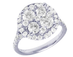 Ladies 14k White Gold Real Diamond Round Cluster Engagement Ring 2.51ct 15mm
