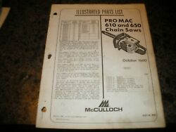 Mcculloch Pro Mac 610,650,chainsaw,illustrated Parts List,vintage Chainsaw Y5