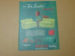 1951 Kroehler Furniture New Twin Beauties Couch's Vintage Art Print Ad
