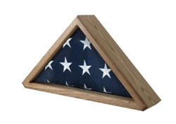Wooden Flag Display Case Military Shadow Box Wall Mount Included