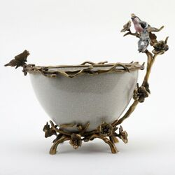 New Porcelain White Crackle Centerpiece Bowl In Bronze Ormolu With Applied Birds