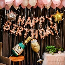 Rose Gold Birthday Party Decorations Set with Happy Birthday Balloons Banner $14.99
