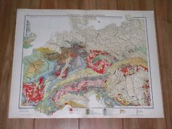 1912 Original Antique Geological Map Of Germany Poland Central Europe Geology
