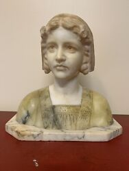 Antique Fine 19th Century Alabaster Bust Of A Girl With Carvings Marble Heavy