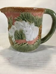 """Fitz And Floyd """"style"""" Rabbits And Flowers On Vintage Ceramic Pitcher 6""""h X 5""""w"""