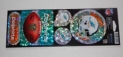 Miami Dolphins Nfl Football Sports Prismatic Decals Pack Of 5