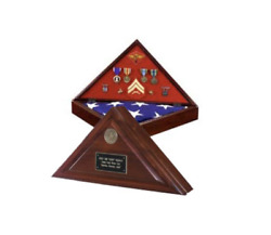 Heritage Flag Case Armed Forces Medal Display Case Shadow Box With Medallion