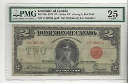 1923 Dominion Of Canada Dc-26b 2 Gr 1, Red Seal Sn C-156060 Pmg Vf-25