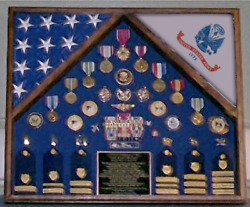 Army Two Casket Us American Flag Shadow Box Display Case For Medals And Badges