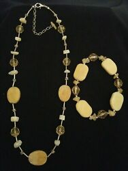 Vintage Yellow Beaded And Silver Tone Necklace And Bracelet Stone, Lucite, Glass