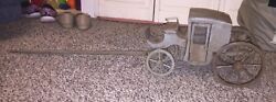 Antique Wooden Doll Coach Carriage Folk Art Salesman Sample Pull Toy