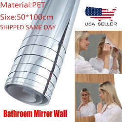 50x100cm Self Adhesive Mirror Reflective Tile Wall Stickers Film Wall Paper US