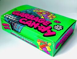 Vintage 1976 Topps Garbage Can-dy Series 2 Candy Green Display Box Rainbow Cans