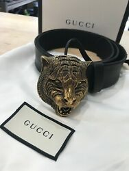 Men's Gucci Gold Tiger Head Belt Buckle Size 34 NEW OPEN BOX *FAST SHIPPING* $400.00