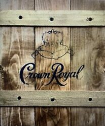 Rustic Handcrafted Wooden Crate Sign Featuring Crown Royal Whiskey