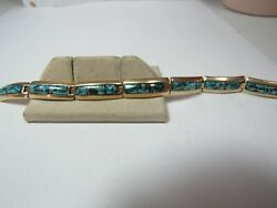 Native American 14k Solid Gold Bracelet W / Tyrone Turquoise Signed Bgm