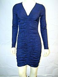 Michael Kor's New Black Blue Print Ruched Front Stretch Dress Size Xs Fits 0 2