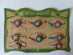 Vintage 1940's Occupied Japan Toy Novelty 8 Wrist Watches On Store Display