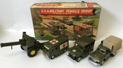 Vintage Cragstan / Shioji Sss Japan Tin Friction Us Military Vehicle Group Set