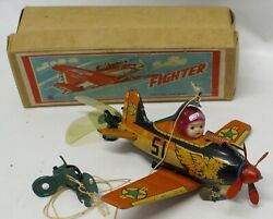 Vintage Nomura Japan Tin And Celluloid Wind-up Toy Fighter Plane 15a Airplane