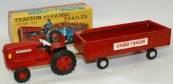 Vintage Toy 1960's Tin Friction Tractor With Cargo Trailer Farm Set 1417, Japan