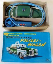 1960and039s Ss Japan Tin Remote Controlled Mercedes-benz Polizei Wagen Toy Police Car