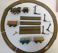 Antique Toy Tinplate Train Set With Cars Track Telegraphs And Signal.