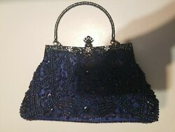 Blue Satin Silver Clutch With Beaded Design Small Purse $16.99
