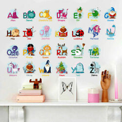 Cartoon 26 Letters Alphabet Animals Wall Stickers For Kids Rooms Children Mural