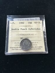 1862 Dbl Punch 2 Iccs Graded New Brunswick Silver Andcent10 Cent Vf-30 Polished
