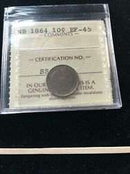 1864 Iccs Graded New Brunswick Silver Andcent10 Cent Ef-45