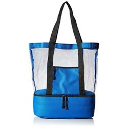 travelwell fashionable beach picnic outdoor 12 drinks mesh cooler bag tote blu $30.77