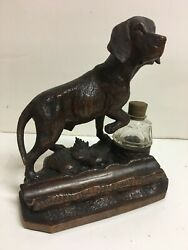 Antique Black Forest Swiss Wood Carved Hunting Dog Inkwell Pen Rest