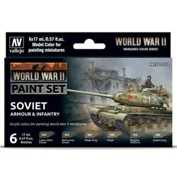 Vallejo World War Ii Soviet Armour And Infantry 17ml Acrylic Paint Set Of 6 Colors