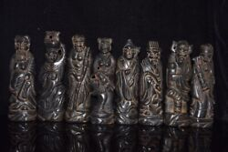 China Old Collection Hongshan Culture Natural Meteorite Eight Immortals Statue