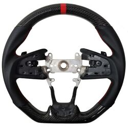 For 2016-2021 Honda Civic Gen 10th Real Carbon Fiber Steering Wheel Type-r Red