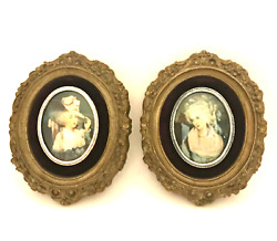 Cameo Creations Victorian Ladies Framed Wall Art Vintage Pair Oval Pictures 7x6
