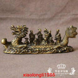 China Old Antique Pure Copper Dragon Boat Character Eight Immortals Statue