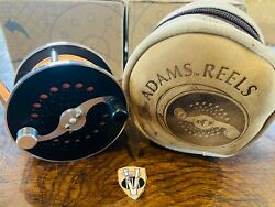 Rare W A Adams 3 Inch Wide Body Trout Fly Reel With Case And Cortland Fly Line